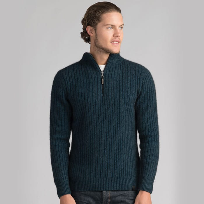 Possum Merino Mink Cable Half Zip Jumper in Peacock