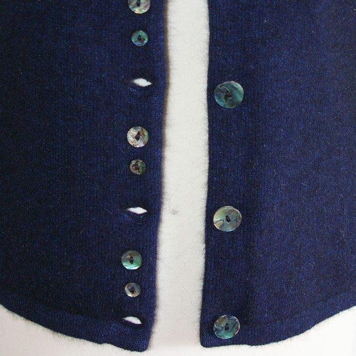 Possum Merino Shell Cardigan in Zephyr Navy Blue Detail