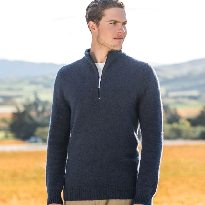Possum Merino Mink Half Zip with Stripes Jumper in Morepork Lifestyle