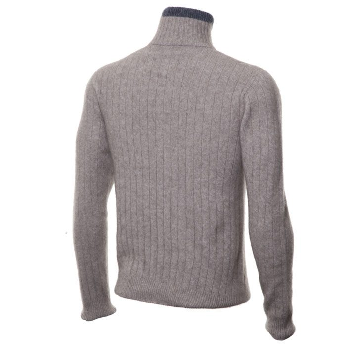 Possum Merino Mens Half Zip Cable Knit Jumper in Mocha Back
