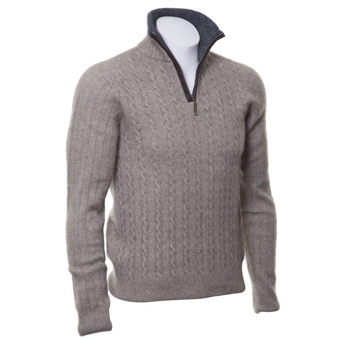 Possum Merino Mens Half Zip Cable Knit Jumper in Mocha