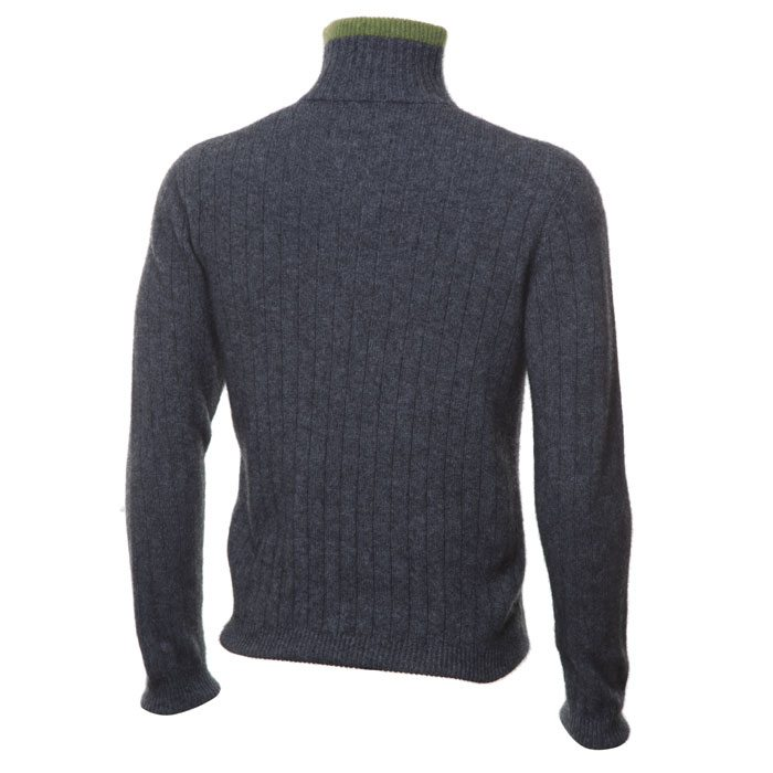 Possum Merino Mens Half Zip Cable Knit Jumper in Pewter Back