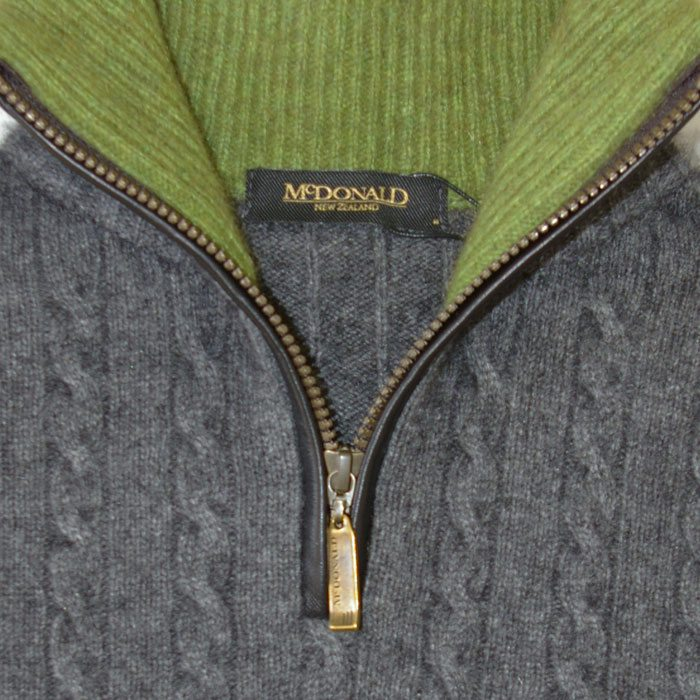 Possum Merino Mens Half Zip Cable Knit Jumper in Pewter Detail