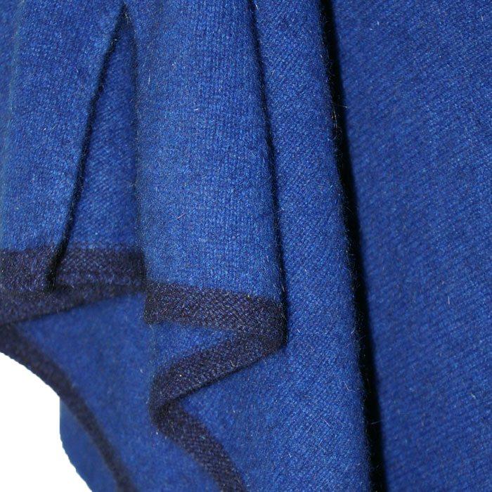 Possum Merino Two Tone Poncho in Royal Blue Detail