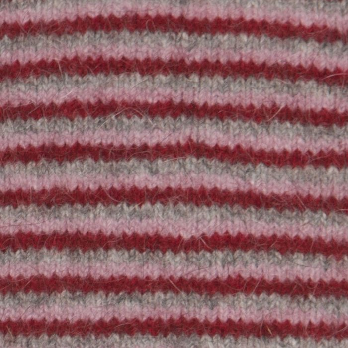 Native World Possum Merino Fine Stripe Wristwarmers in Berry Detail