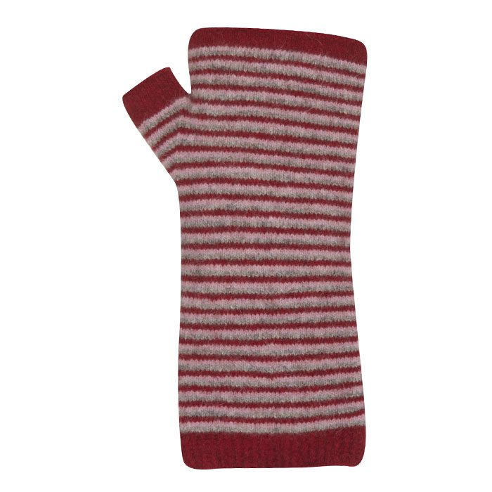 Native World Possum Merino Fine Stripe Wristwarmers in Berry