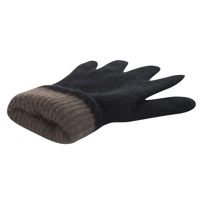 Possum Merino Native World Two Tone Gloves in Black Interior