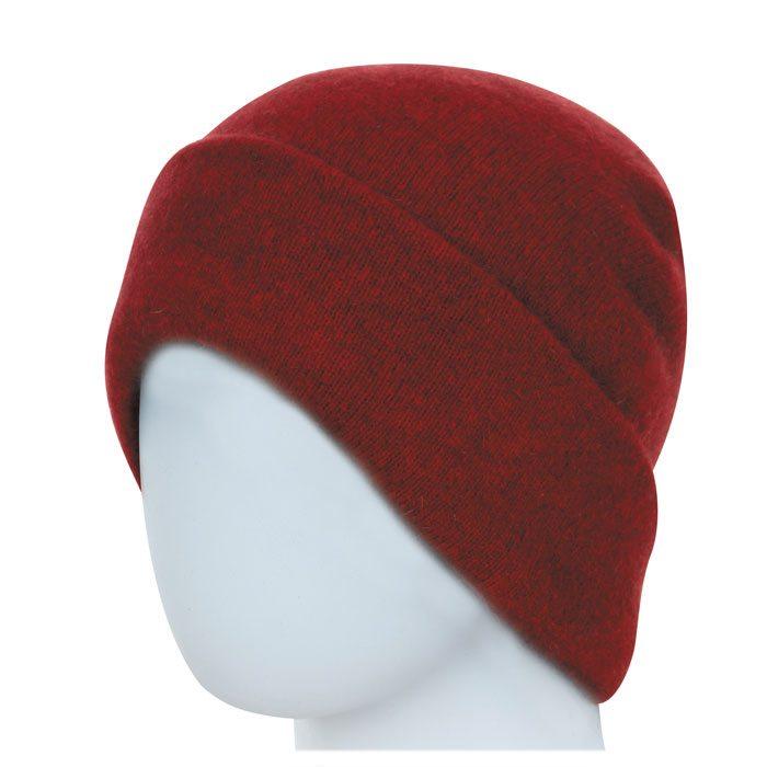 Native World Possum Merino Reversible Beanie Hat in Berry Plain