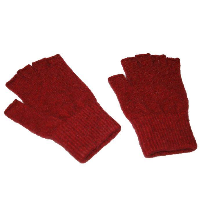 Possum Merino Fingerless Gloves in Berry