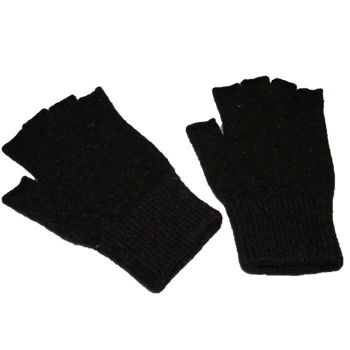 Possum Merino Fingerless Gloves in Black