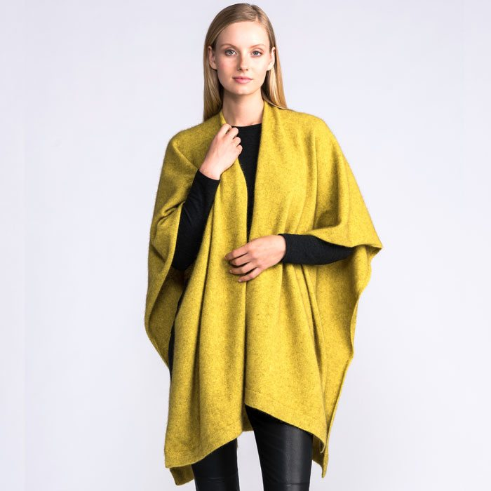 Merino Mink Resort Wrap in Golden on Model