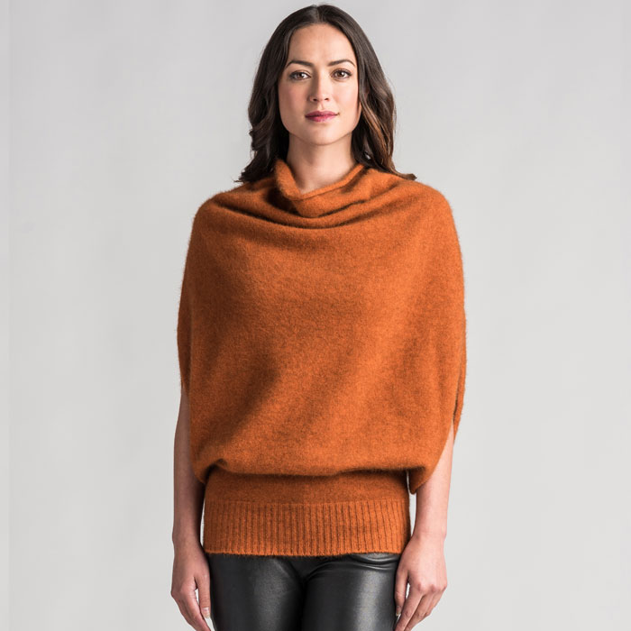 Merino Mink Cape in Paprika Front