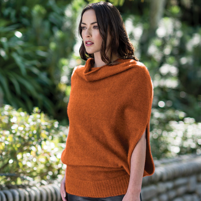 Merino Mink Cape in Paprika Lifestyle