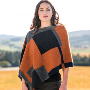 Possum Merino Empress Poncho in Paprika Multi