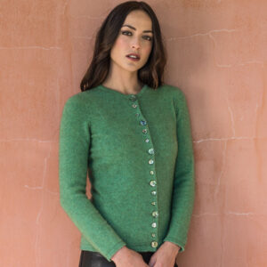 Possum Merino Shell Cardigan in Aloe Green