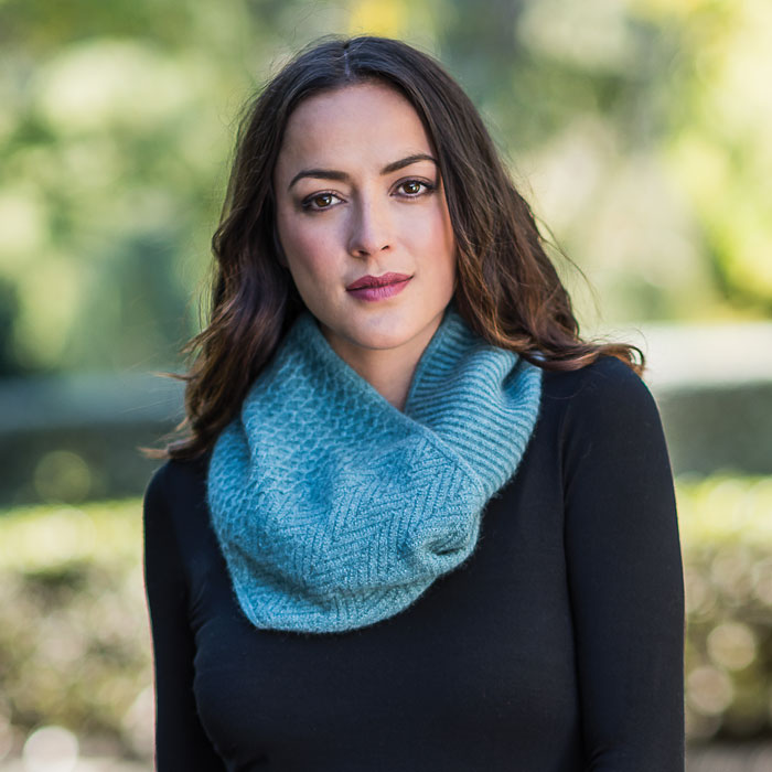 Possum Merino Textured Loop Scarf in Mist