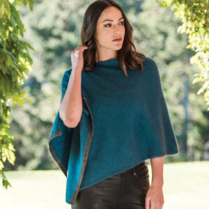 Possum Merino Two Tone Poncho in Crevasse Lifestyle