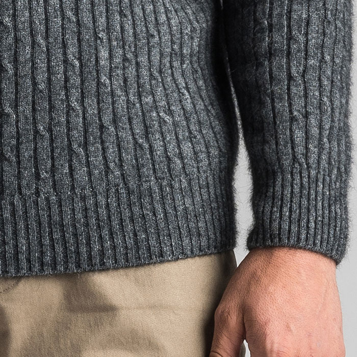 Merino Mink Cable Knit Half Zip Jumper in Slate Cuff Detail