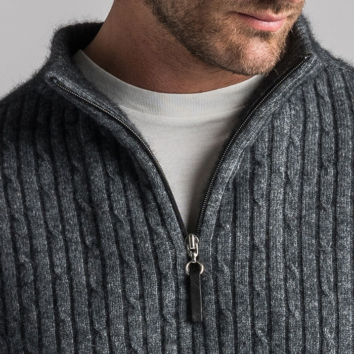 Merino Mink Cable Knit Half Zip Jumper in Slate Zip Detail