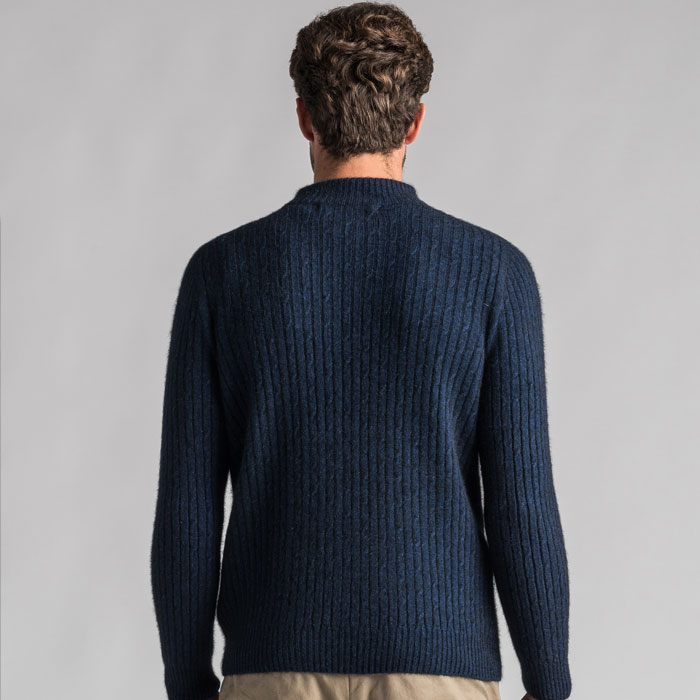 Merino Mink Cable Knit Half Zip Jumper in Zephyr Back