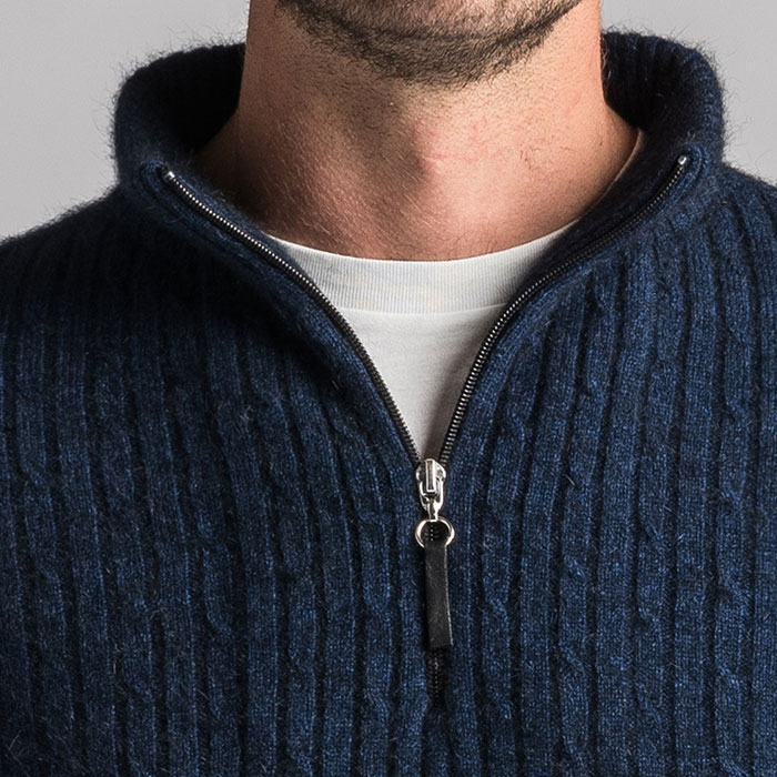 Merino Mink Cable Knit Half Zip Jumper in Zephyr Zip Detail