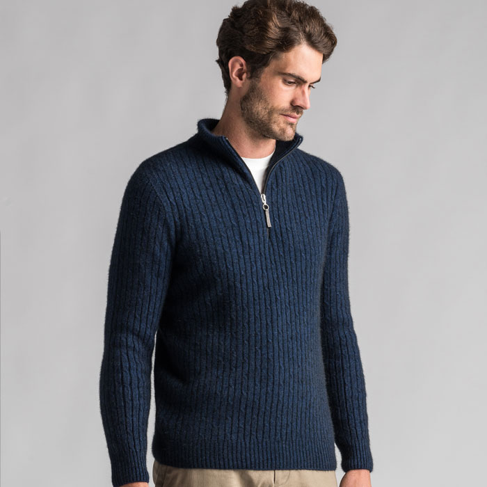 Merino Mink Cable Knit Half Zip Jumper in Zephyr