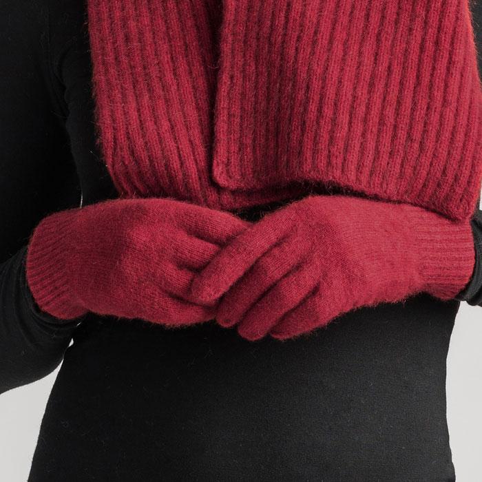 Merino Mink Gloves in Red