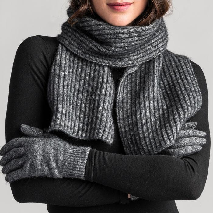 Merino Mink Gloves in Slate