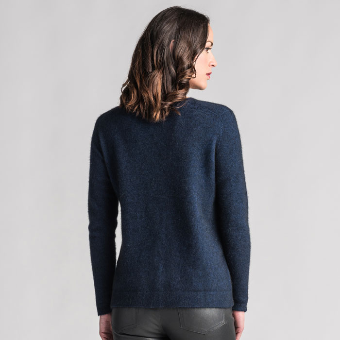 Merino Mink Relaxed Sweater in Zephyr Back