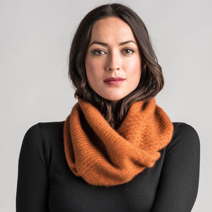 Merino Mink Textured Loop Scarf in Paprika
