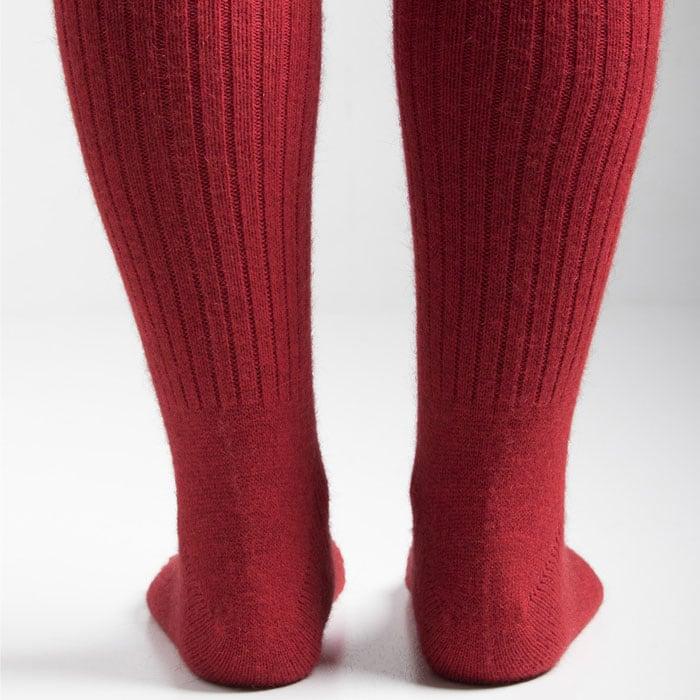 Merino Mink Rib Socks in Red Back Detail