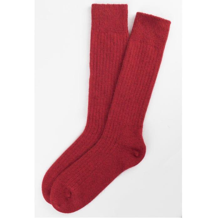 Merino Mink Rib Socks in Red