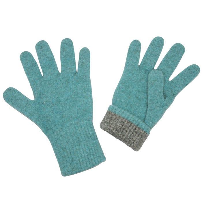 Native World Possum Merino Two Tone Gloves in Topaz