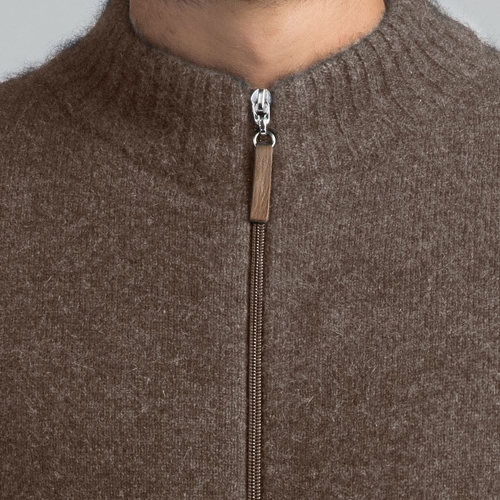 Merino Mink Full Zip Jumper in Pebble Collar Detail