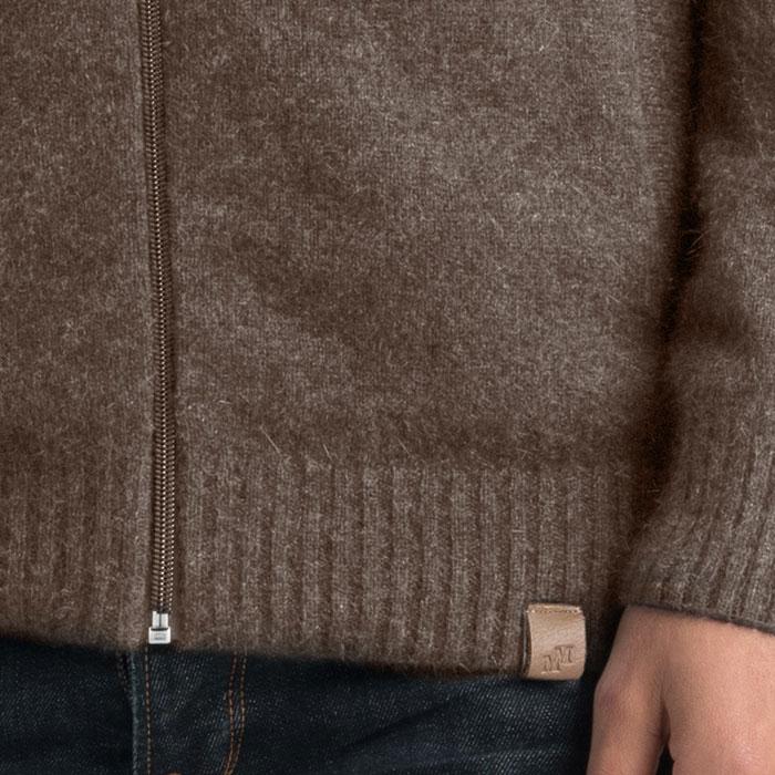 Merino Mink Full Zip Jumper in Pebble Cuff Detail