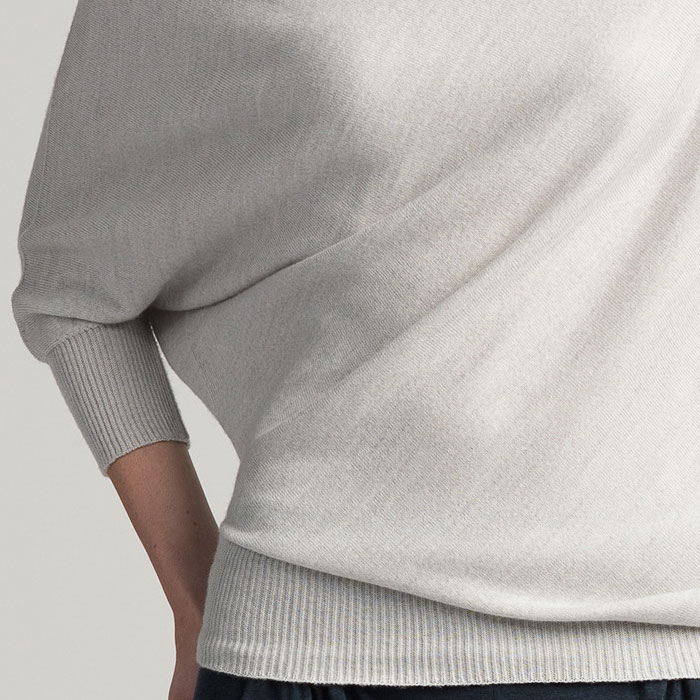 Possum Merino Untouched World Cubic Sweater in Silver Detail