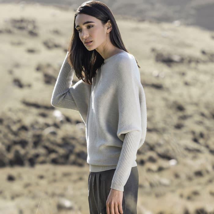 Possum Merino Untouched World Flitch Sweater in Light Silver Lifestyle 3