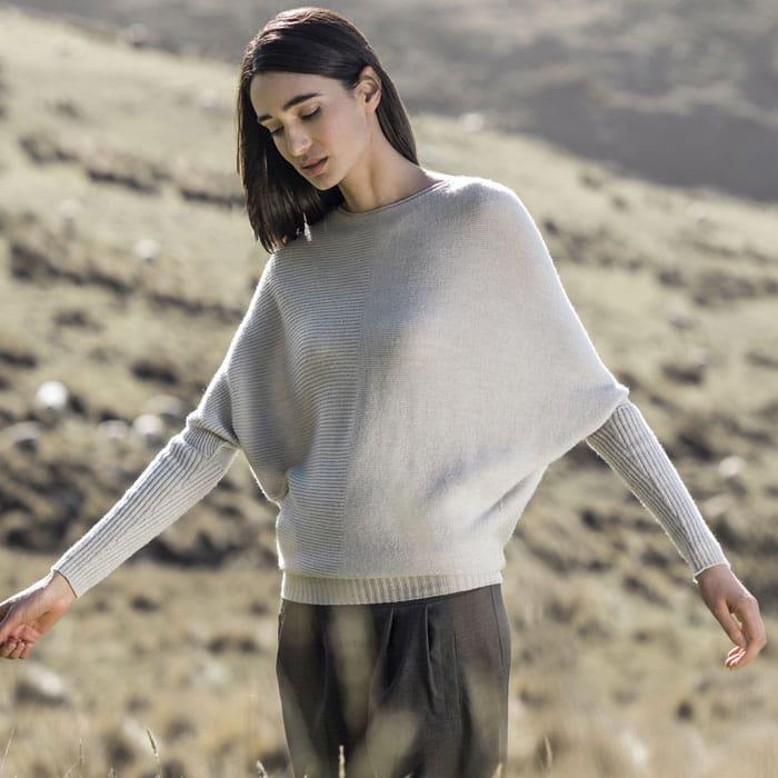 Possum Merino Untouched World Flitch Sweater in Light Silver Lifestyle 2
