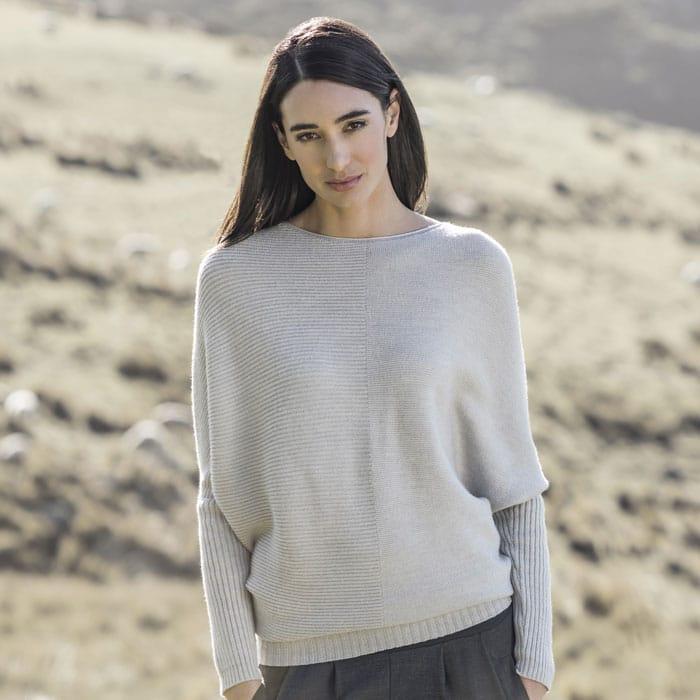 Possum Merino Untouched World Flitch Sweater in Light Silver Lifestyle 1