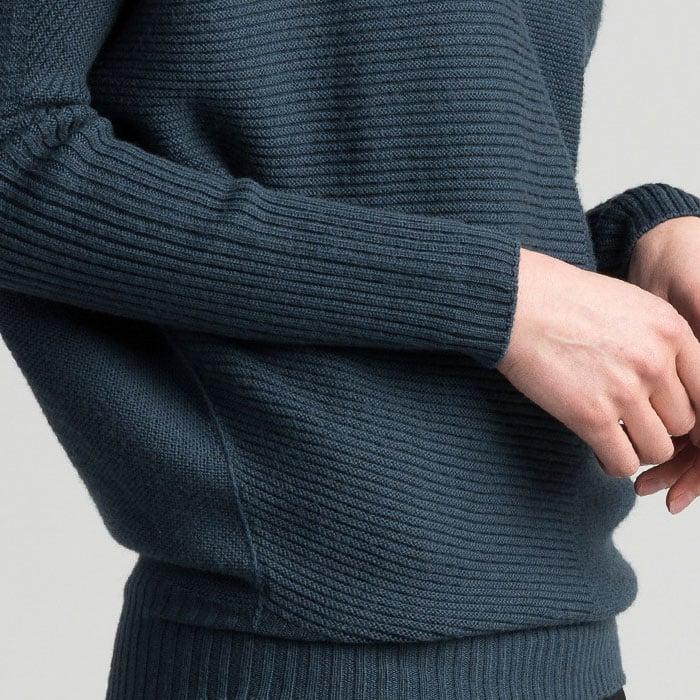 Possum Merino Untouched World Flitch Sweater in Steel Knit Detail