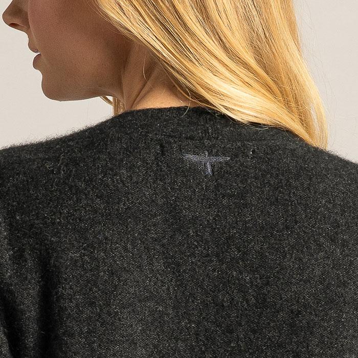 Possum Merino Coat Cardi in Graphite Detail Back